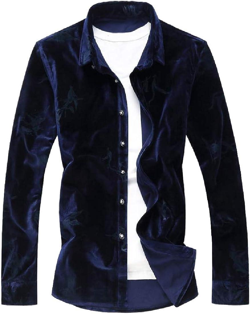 Unastar Men Formal Slim Casual Velour Velvet Pure Color Top Shirt