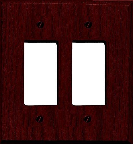 Runwireless Traditional Dark Cherry Wood Wall Plate/Switch Plate - 4-407 (Double Rocker) - Cherry Wood Wall