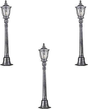 Juego de 3 klassiches vintages postes Luz exterior, Farol poste para jardín negras, y metal plateado, Cristal Transparente, estilo antiguo, Exclusivo.1 E27 100 W IP44: Amazon.es: Iluminación