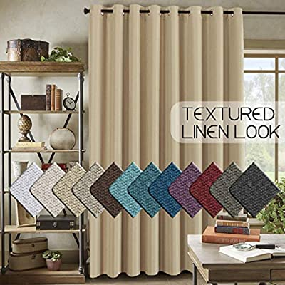 "H.VERSAILTEX Room Darkening Linen Curtain for Sliding Door (100"" W x 96"" L) Extra Wide Primitive Burlap Textured Linen Room Divider Curtain for Living Room/Patio (8ft Tall by 8.5ft Wide, Beige) - STANDARD SIZE: Sold per single panel, measures: 100 inch width by 96 inch length. Each panel has 16 antique copper grommets (rim of grommet is 2.4"", while inner is 1.6""), can be hung from a basic or decorative curtain rod ELEGANT BURLAP QUALITY: This classic wide curtain is made of rich faux linen fabric with natural blackout features, thick and heavy duty make the draperies more durable and long lasting, burlap effect will bring more vintage and graceful look to your window and room MULTIPLE FUNCTIONS: This extra wider panel can block out sunlight to control the light and balance the temperature in your rooms, high performance on thermal insulated, room darkening, energy efficient, noise reducing and privacy protecting - living-room-soft-furnishings, living-room, draperies-curtains-shades - 51KDO8a6NlL. SS400  -"