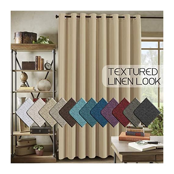 """H.VERSAILTEX Room Darkening Linen Curtain for Sliding Door (100"""" W x 96"""" L) Extra Wide Primitive Burlap Textured Linen Room Divider Curtain for Living Room/Patio (8ft Tall by 8.5ft Wide, Beige) - STANDARD SIZE: Sold per single panel, measures: 100 inch width by 96 inch length. Each panel has 16 antique copper grommets (rim of grommet is 2.4"""", while inner is 1.6""""), can be hung from a basic or decorative curtain rod ELEGANT BURLAP QUALITY: This classic wide curtain is made of rich faux linen fabric with natural blackout features, thick and heavy duty make the draperies more durable and long lasting, burlap effect will bring more vintage and graceful look to your window and room MULTIPLE FUNCTIONS: This extra wider panel can block out sunlight to control the light and balance the temperature in your rooms, high performance on thermal insulated, room darkening, energy efficient, noise reducing and privacy protecting - living-room-soft-furnishings, living-room, draperies-curtains-shades - 51KDO8a6NlL. SS570  -"""