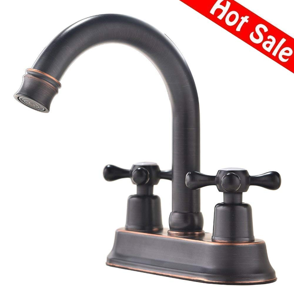 Ufaucet Modern Oil Rubbed Bronze 2 Handle Centerset Stainless Steel bathroom faucet,Oil Rubbed Bronze Bathroom Sink Faucet by Ufaucet