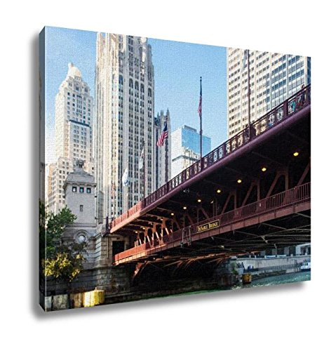 Ashley Canvas, The Iconic Dusable Bridge And Michigan Ave In Chicago Illinois USA On A Hot, Wall Art Home Decor, Ready to Hang, 16x20, - Michigan Ave Tower Water