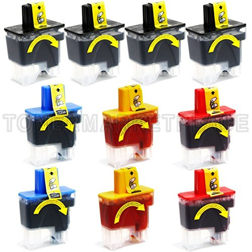 INKUTEN © Brother Compatible LC41 Set of 10 Ink Cartridges: 4 Black & 2 each of Yellow / Cyan / Magenta.