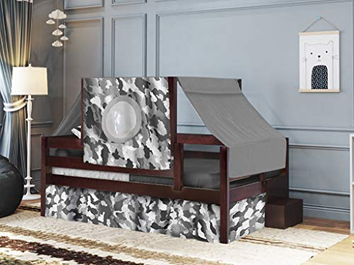 JACKPOT! Castle Twin Bed with Step Gray Camo Tent & Curtains, Cherry