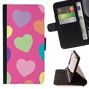 BullDog Case - FOR/Sony Xperia Z1 Compact D5503 / - / heart green pattern orange purple /- Monedero de cuero de la PU Llevar cubierta de la caja con el ID Credit Card Slots Flip funda de cuer
