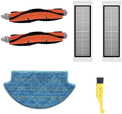 MZY LLC Accesorios Recambio Xiaomi Mi Robotic Aspirador 2 Cepillo Principal 2 Filtro 1 Mop Paño 1 Libre Cepillo de Limpieza Robot Accesorio de Aspiración