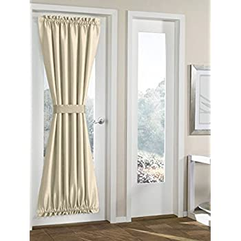 RHF Blackout French Door Curtains   Thermal Insulated Door Panel 54W By 72L  Inches Beige
