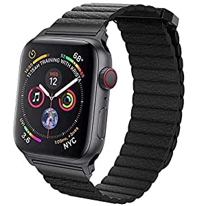 EWORLD Sport Loop Compatible with Apple Watch 38mm 40mm Leather Band with Strong Magnetive Closure, Strap Replacement for iWatch Series 4/3 / 2/1 - Black
