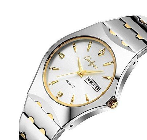 Para hombre dorado de lujo relojes impermeable analógico y Inglés calendario diamante dorado reloj con banda de acero: ONLYOU: Amazon.es: Relojes
