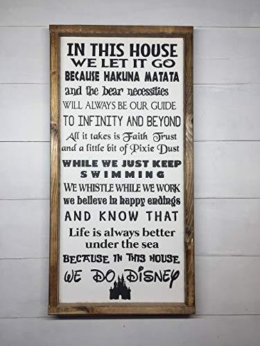 "IN THIS HOUSE WE DO DISNEY | DISNEY FAMILY | DISNEY SIGN | DISNEY DECORATION | 12""x24"""