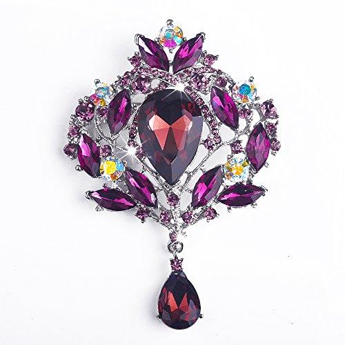 Yilanair Wedding Bridal Big Crystal Rhinestone Bouquet Brooch Pin for Women-Purple