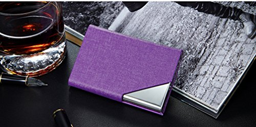 LinTimes PU Leather Stainless Steel Business Card Holder Name Card Case with Magnetic Shut Purple (Card Holder Business Michigan)