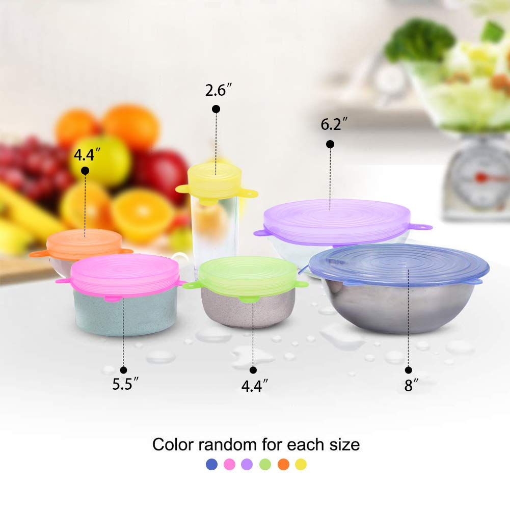 Silicone Stretch Lids,12pcs Various Sizes Food Covers Reusable Expandable Containers with 2pcs Silicone Flexible Funnel for Fruits Vegetables to Fit Various Size and Shape of Containers Bowls