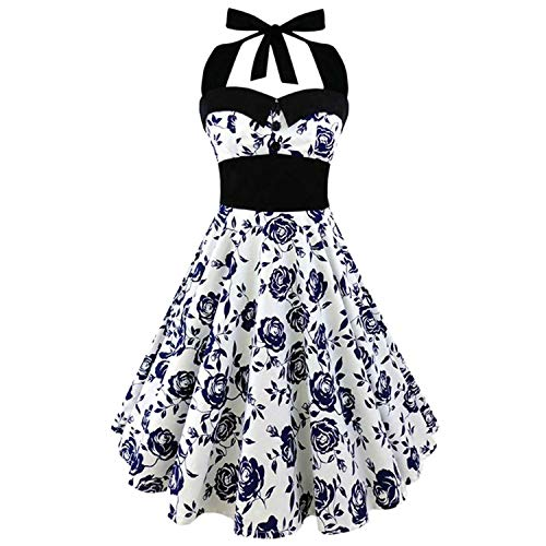 Plus Size Women Floral Skull Print Off Shoulder Sexy Halter Dress,3,XXL