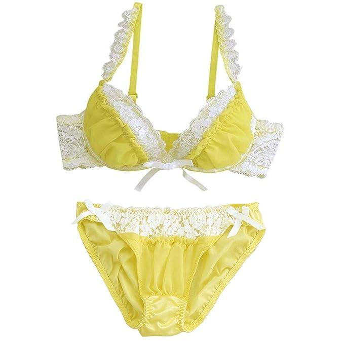 aimerfeel ropa interior Hacia arriba-Set empuja el sujetador de encaje Amarillo-mujeres-