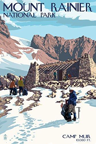 Mount Rainier National Park - Camp Muir and Climbers Art Print, Wall Decor Travel