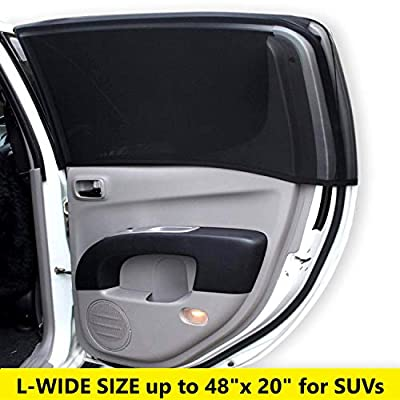 Best Car Sun Shade for Baby, Stretchy Mesh Fits Like a Sock, No Sun Leak on Back Seat Window, Sunscreen/Insect Screen Protects Your Child All Year, in Cabin Heat Reduction