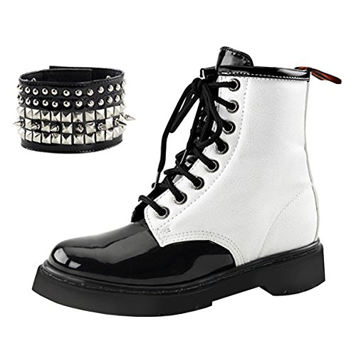 Summitfashions Womens Black and White Boots Lace up Shoes Studded Combat Boots 1 1/4 inch Heel