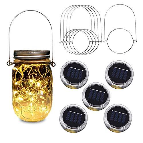 Solar Mason Jar Lights, 5 Pack 20 Led Warm White String Fairy Star Firefly Jar Lids Lights (5 Hangers Included/ No Jar), Apply to Regular Mouth Mason Jar or Ball Jar for Festive Party Patio Lamp Decor]()