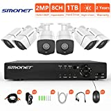 [FULL HD]Security Camera System 1080P,SMONET 8 Channel 2MP Outdoor/Indoor Surveillance System(1TB Hard Drive),6pcs 1080P Weatherproof Security Cameras,65ft Night Vision,P2P, Free APP,Easy Remote View Review