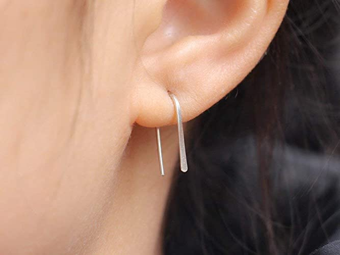 Silver stick dangle double stick earring one stick earring two bar earring one bar earring men bar dangle modern silver stick men silver bar