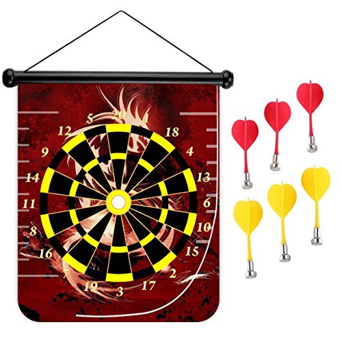 (15 inches Magnetic Dart Board Double Sided Hanging Dart Board Set and Bullseye Game! Blood Red Dragon)