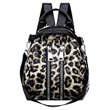 Clearance Sale! ZOMUSAR Women Girl PU Leather Leopard Print College School Bag Backpack Satchel Travel Hiking Bag (Brown)