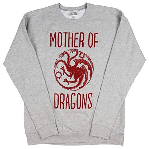 Game of Thrones Sweatshirt Adult Mother of Dragons Crewneck Pullover Top (XX-Large) Heather Grey