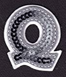 LETTERS - Silver Sequin 2' Letter'Q' - Iron On Embroidered Applique