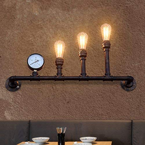 Color : Black Black Minimalist Wall Light E26/27 Base Rustic Retro Industrial air Personality Creative Iron Pipes to The Wall Lights E27 Bar Terrace Restaurant is Decorated loft 780 360MM