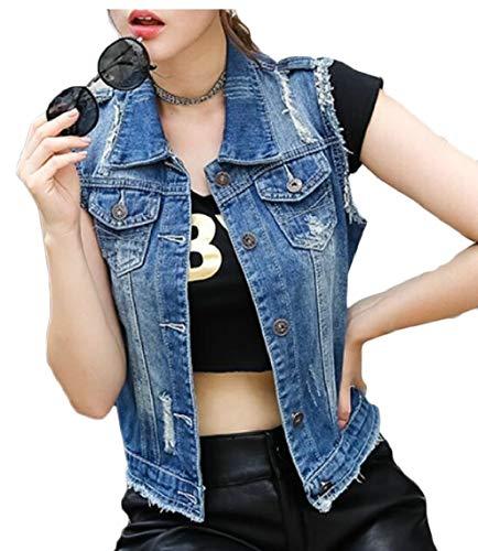 しばしば乱気流勇気のあるKeaac 女性コットンノースリーブリッピングホールジーンズデニムベストジャケット