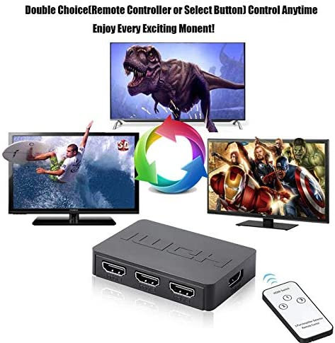 SSEDEW HDMI Splitter 3 Port Hub Box Auto Switch 3 in 1 Out Switcher 1080p HD with Remote Control for X box360 PS3 HDTV Projector