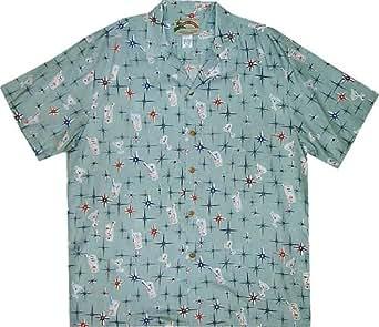 Hawaiian Shirt- Happy Hour Men's Hawaiian Aloha Shirt in Sea Foam - XL