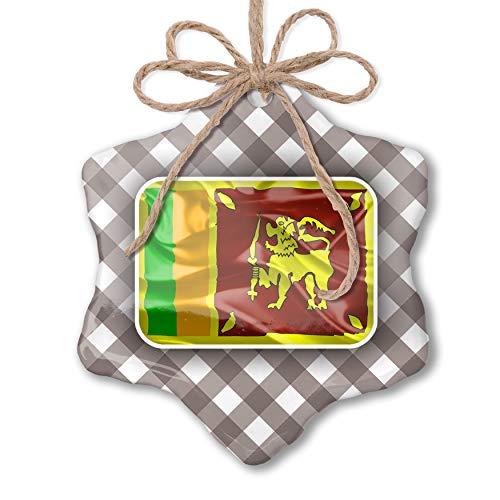 NEONBLOND Christmas Ornament Sri Lanka 3D Flag Grey White Black Plaid