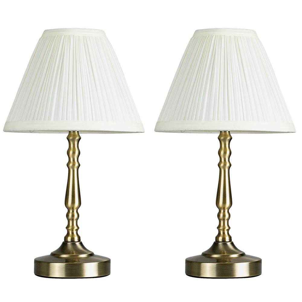 Pair of Vintage Style Antique Brass Touch Table Lamps with a Pleated Cream Shade