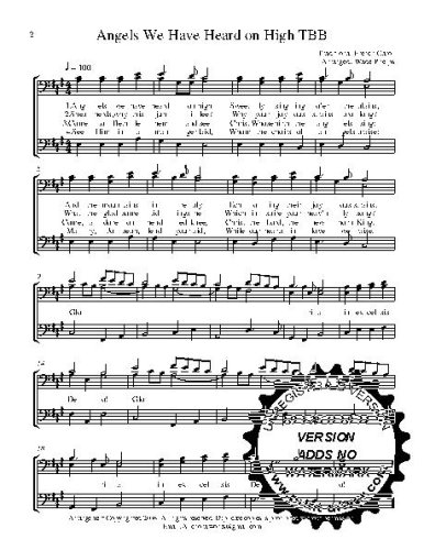 Angels We have Heard on High  w/Practice CD A capella  TBB Choral Sheet Music! Acappella music arranged for 3 part  male choir or trio. 5 copies of the song included