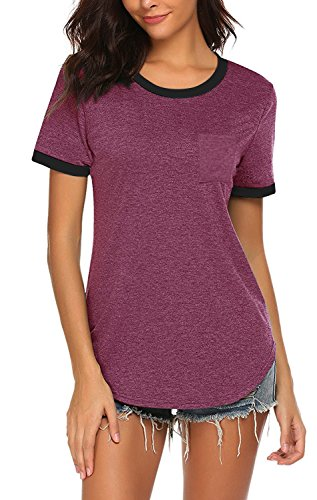 Yidarton Women's Short Sleeve Round Neck T Shirt Color Block Casual Pocket Tops(Wine,M)