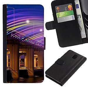 KingStore / Leather Etui en cuir / Samsung Galaxy Note 3 III / Arquitectura Luz brillante Noche Casino