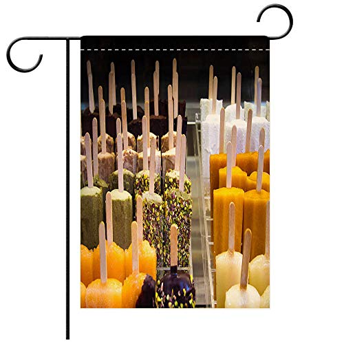 BEICICI Garden Flag Double-Sided Printing, Artisanal Popsicles and Ice Cream Bars in Rows Best for Party Yard and Home Outdoor Decor