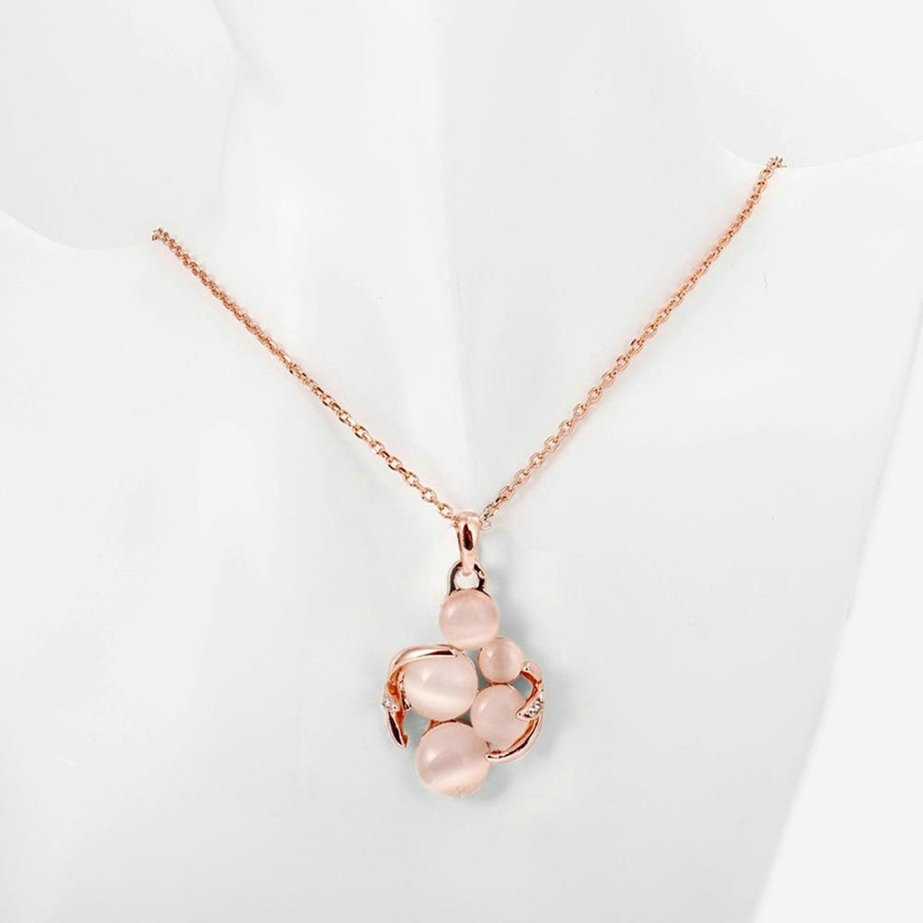 AmDxD Jewelry Rose Gold Plated Womens Necklace White AAA Elements Faux Opal Ball Hollow Design