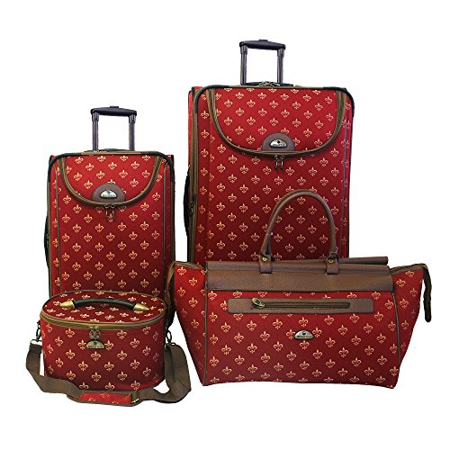 Fleur De Lis Luggage (American Flyer Luggage Fleur De Lis 4 Piece Set, Red, One)