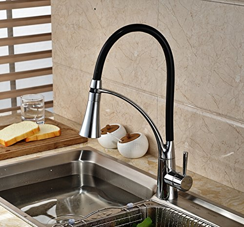 Cool Maple Industry LED Kitchen Faucet 360 Rotate Chrome Mixer Faucet for Kitchen Rubber Design Pull Down Deck Mounted Crane for Sinks Single Handle ()