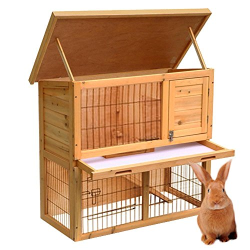 Eight24hours 2 Tier Waterproof Rabbit Chicken Coop Hen Cage House Hutch Poultry Wooden 36
