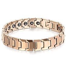 JewelryWe Men's Tungsten Bracelet Magnetic Beads Link Wrist Polished 12mm, Color Rose Gold