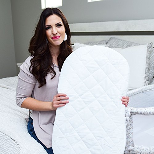 Best Halo Bassinet Mattress Pad - & Sheet Cover Protector, Waterproof Fitted Sheets for Halo Swivel Sleeper, Hypoallergenic, Classic White Design for Baby Boy & Girl, Smart Elastic Band Design (Bassinet Mattress Round)