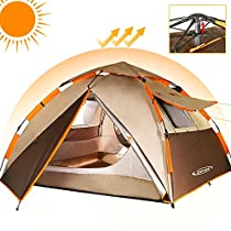 ZOMAKE Waterproof Camping Tent 2 3 Person - Protable Dome Quick up Tent (Brown)