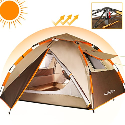 ZOMAKE Camping Tent 2 3 Person - Protable Dome Quick Up Tent, Automatic Instant Tent (Brown) by ZOMAKE