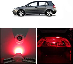 WLJH Super Red T5 Neo Wedge Led Light Bulbs 3030 Smd Chipest T4.7 Led Bulb Upgrade Rear Interior Reading Lights for Volkswagen VW Golf Mk4 1999-2004, Pack of 10
