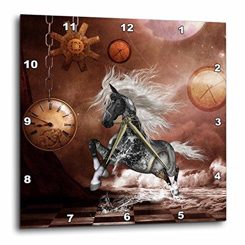 3dRose Heike Köhnen Design Steampunk – Steampunk, Steampunk Horse on The Beach – Wall Clocks